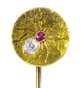 Victorian stickpin of gold, ruby and old-mine diamond, English, c. 1890, from A La Vielle Russie (alvr.com), exhibitor at the Winter Antiques Show, NYC