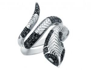 Black diamond and sterling snake ring