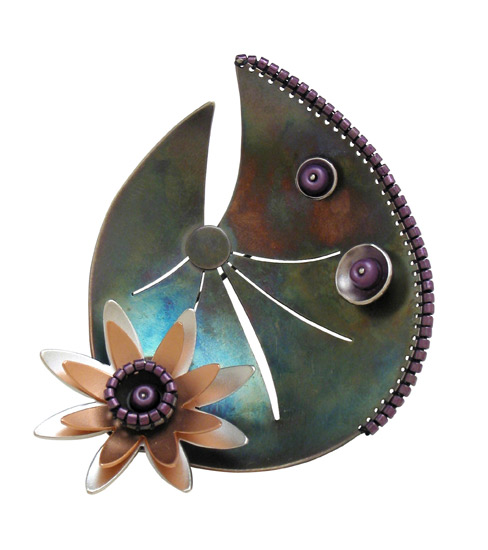 Fancy Lotus pin/pendant of oxidized sterling, plated with rhodium and rose gold