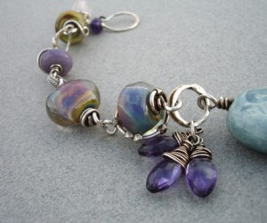 Melanie Hazen's lampwork glass and sterling bracelet (photo by the artist)