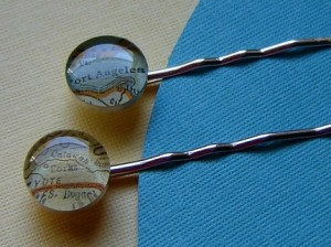 Sherry Truitt's Twilight New Moon hairpins made of sterling and vintage maps