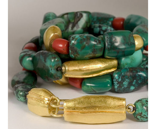 Turquoise, coral and 18kt gold necklace by Nancy Michel (Quadrum Gallery)