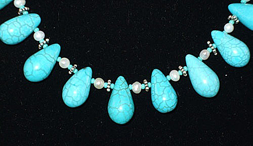 Necklace by Etania of stabilized turquoise