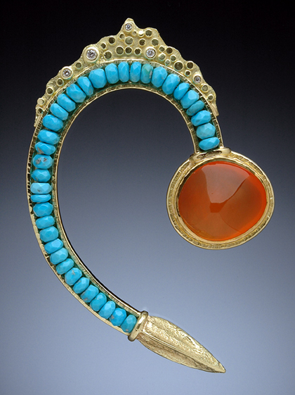Hand-fabricated 18kt gold brooch with Sleeping Beauty turquoise, Mexican jelly opal and white diamonds by Hughes-Bosca