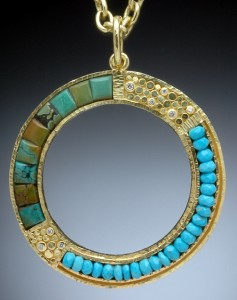 Hand-fabricated 18K gold pendant with inlaid Chinese and Sleeping Beauty turquoise and white diamonds by Hughes-Bosca