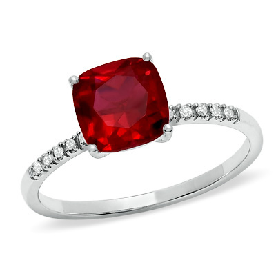 Garnet ring with diamond accents in 10kt white gold ($169, Zales)