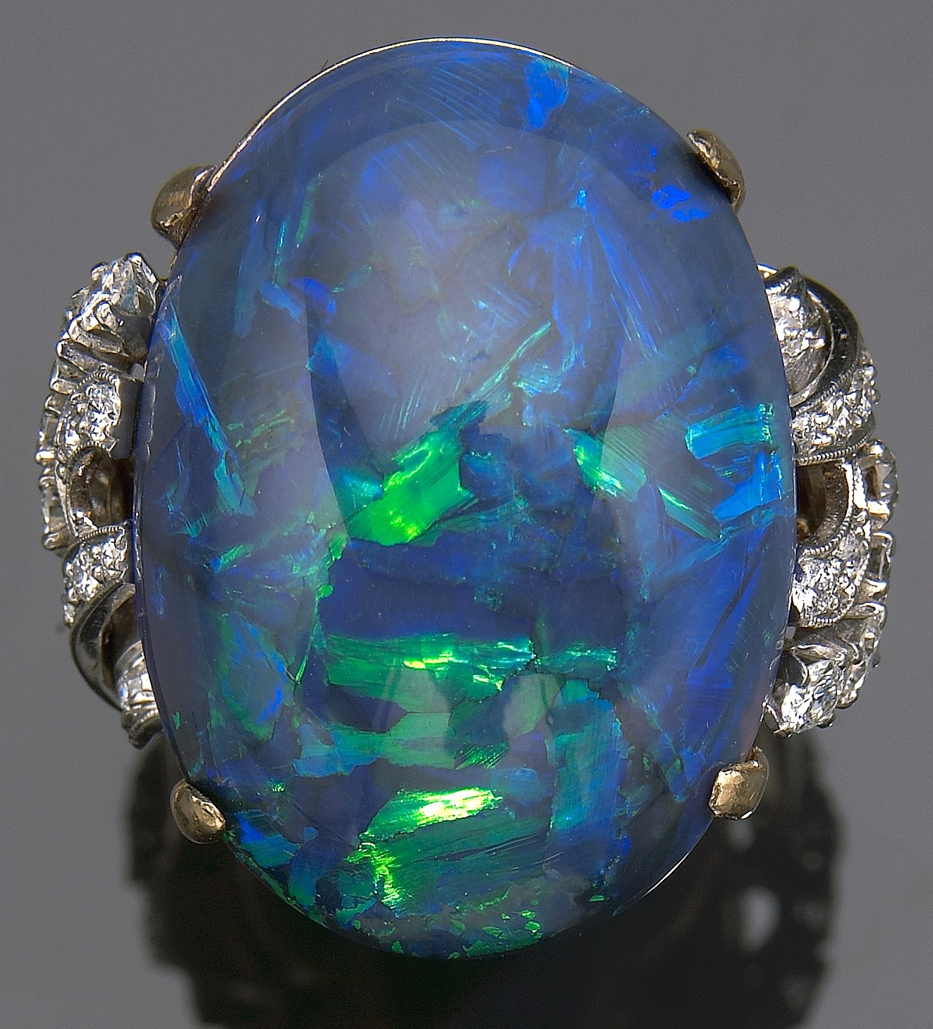 Black Opal Rings on Black Opal And Diamond Ring