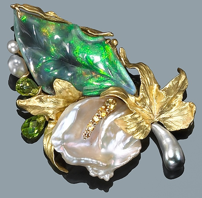 Brooch of black opal, pearl, gold carved and set by Angela Conty