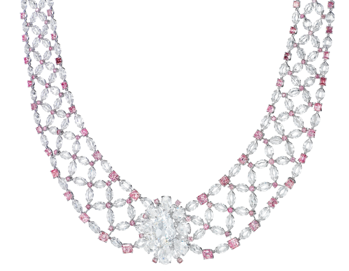 pink featuring gold argyle diamonds creations rose pendant necklace md a past and white diamond