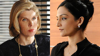 Archie Panjabi (right) wearing horseshoe necklace by Vanessa Amalia in The Good Wife