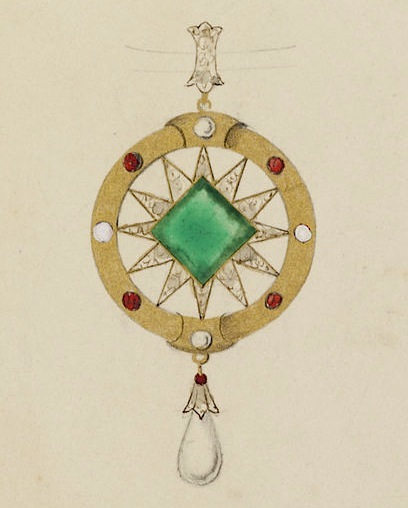 Pendant design by Charlotte Newman, 1860s, V&A Museum collection