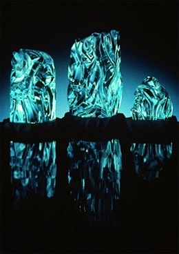 "Waterfall Suite of aquamarine, 1.5"" to 2.5"", 1994, by Sherris Cottier Shank"