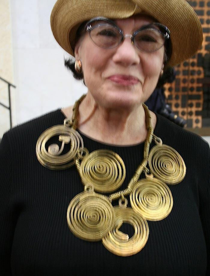 Helen Drutt wearing an Alexander Calder necklace at the opening of the Barnes Foundation in Philadelphia May 2012 (photo Cathleen McCarthy)