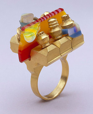 Ring of gold and acrylic by Claus Bury, 1970, Helen Drutt Collection (Museum of Fine Arts, Houston)