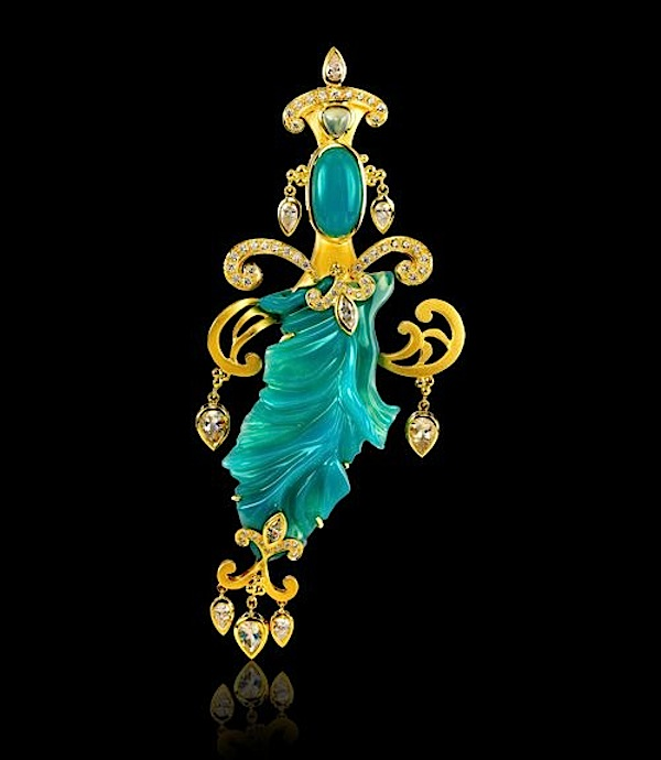River Goddess pendant  of chrysocolla, moonstone, diamond, and opal by Paula Crevoshay (crevoshay.com)