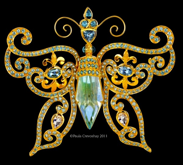 """Spring Air"" pendant of aquamarine, blue moonstone, and blue zircon by Paula Crevoshay with gem carver Lawrence Stoller (crevoshay.com)"