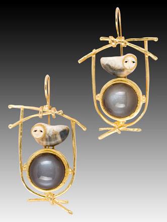 Carolyn Morris Bach owl earrings