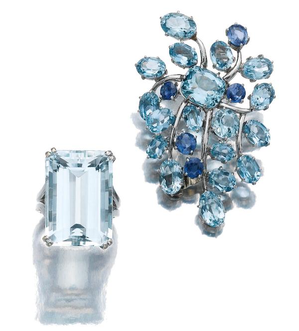 Sapphire aquamarine clip Belperron