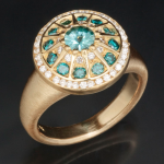 Ring of .50ct Vortex-cut aquamarine, white diamonds, teal-blue diamonds, 18k yellow gold by Doug Zaruba (vortex13.com)