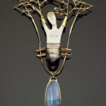 Daphne's Metamorphosis pendant of 18 kt gold, silver, bone, amethyst, opal by Carolyn Morris Bach, 1991, from Daphne Farago Collection at Musuem of Find Arts, Boston