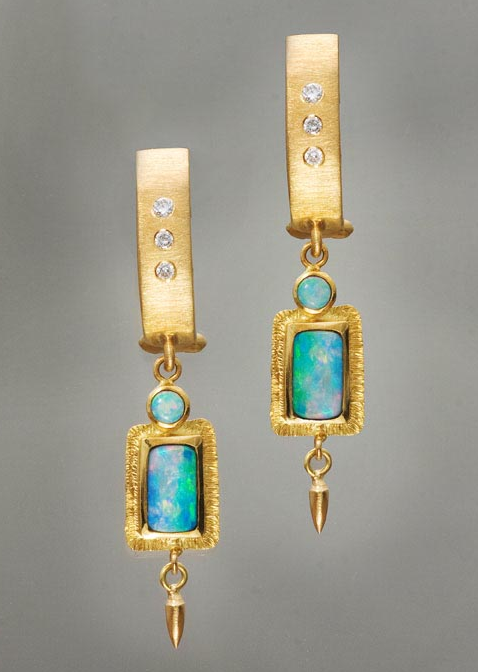 Earrings of opals, diamonds and 18kt gold by Douglas Zaruba (vortex13.com)