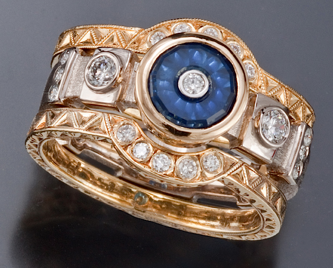 Brittany ring of Torus-cut .96ct sapphire, diamond, 18k gold, 14k white gold by Douglas Zaruba (vortex13.com)