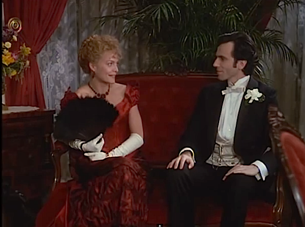 In Martin Scorsese's film version of The Age of Innocence, Michelle Pfeiffer flirts with Daniel Day Lewis while talking about his fiancé