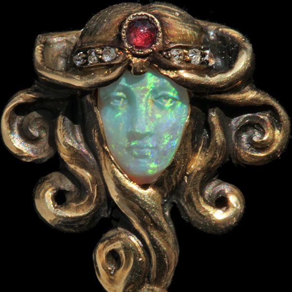 Stickpin (detail) of opal, ruby, diamond and gold by Wilhelm Lucas Von Cranach, c. 1900 (courtesy Tadema Gallery, London)