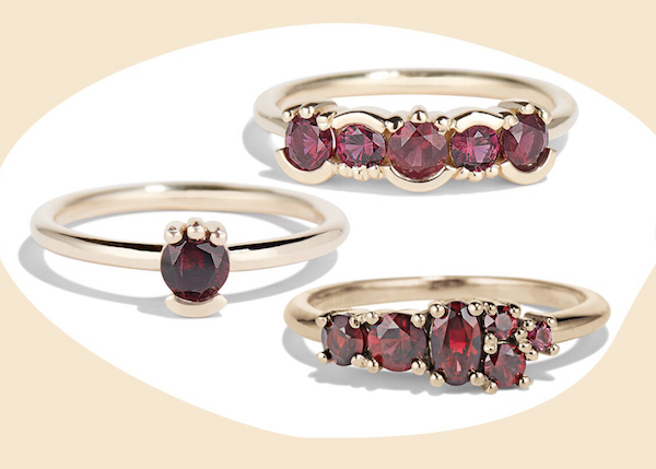 Rings made with Ant Hill garnets by Bario Neal
