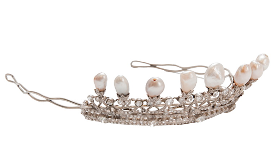 Baroque pearl and diamond tiara