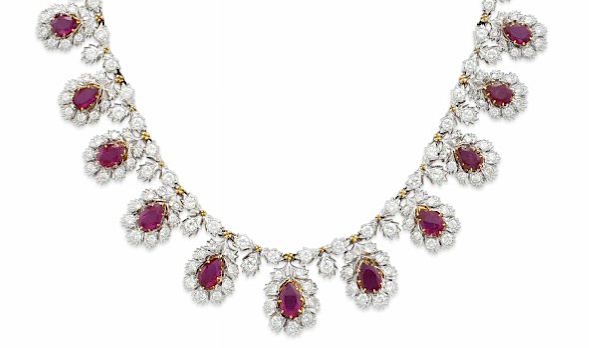 Buccellati ruby diamond necklace