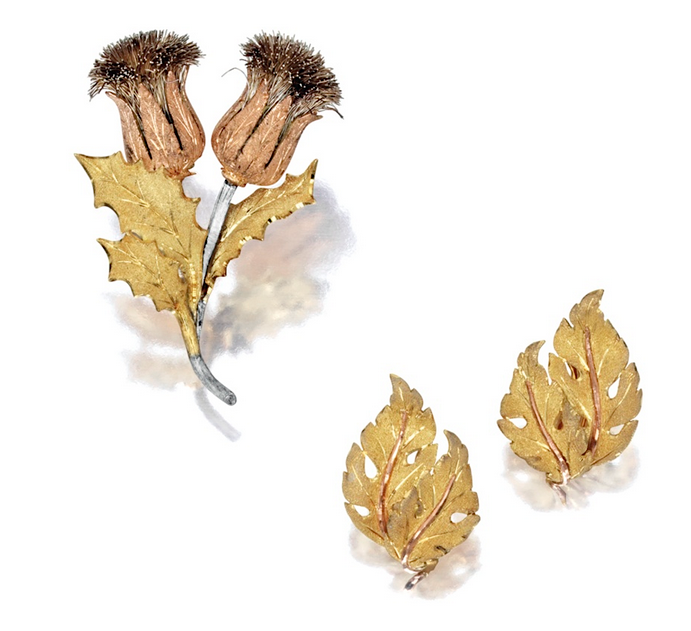"Buccellati ""Thistle"" brooch & ear clips"