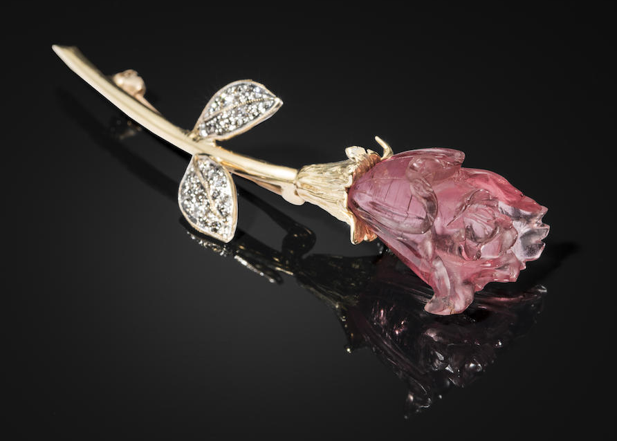Carved Pink Tourmaline brooch