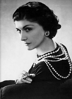 Coco Chanel in pearls