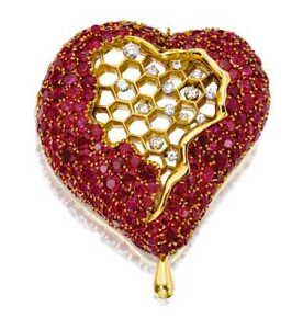 """Honeycomb Heart"" brooch by Salvador Dalí of 18k gold, diamonds and rubies, c. 1953-1954, offered with matching earrings at Sotheby's sale in 2006"