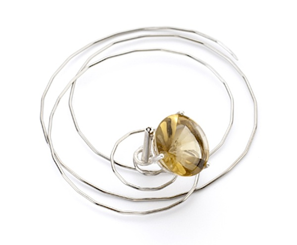In the Air brooch of stainless steel, silver, citrine by Deganit Stern Schocken, 2013