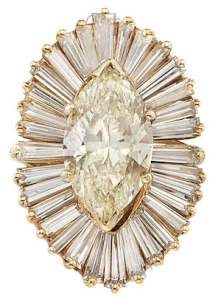 Ring of 4.81ct marquise & baguette diamonds in 14k gold sold for $15,000 at Doyle NY Feb. 24