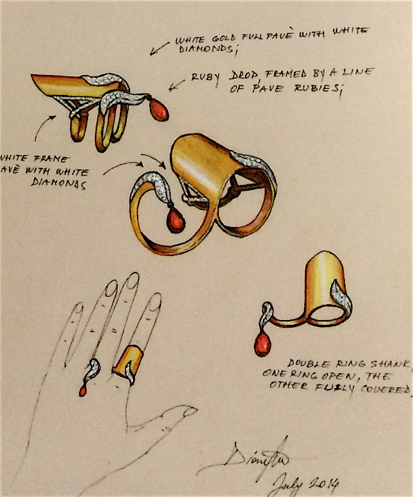 Sketch for Slave ring in yellow and white gold, diamonds and ruby drop by Dionea Orcini (from Fine Jewelry Couture)