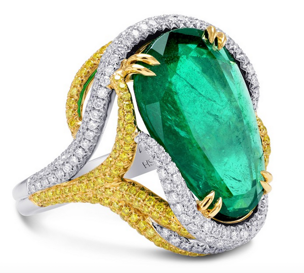 Ring with 9.72ct emerald with diamonds in platinum by Chavi Itzhakov