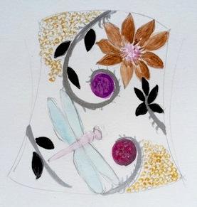 Mimi Favre botanical cuff sketch