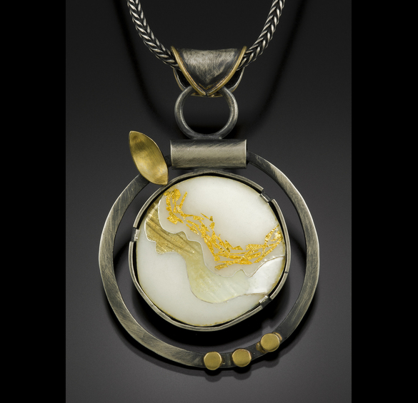 """Flowing Honey"" pendant by Jennifer Jordan Park of enamel, oxidized sterling, and 22kt gold foil"