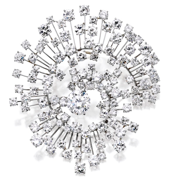 """Galaxy"" brooch of diamonds (40.26 carats) in platinum by Marianne Ostier, c. 1955. Estimated at $45,000-55,000 at Sotheby's NY on April 19."