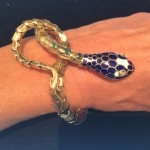 Gold and enamel snake bracelet