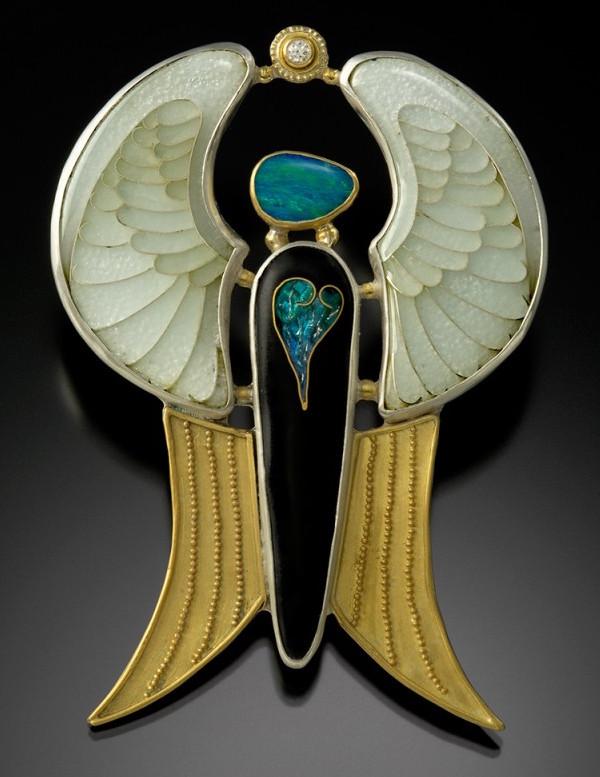 """Golden Angel"" pin/pendant by Jennifer Jordan Park"