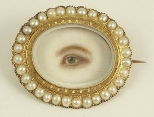 Brooch with eye miniature, c. 1845, of watercolor on ivory, gold, pearls, rock crystal (collection of Cathy Gordon)