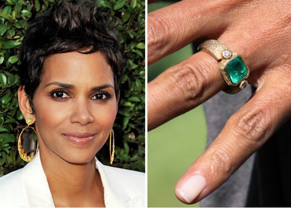 Halle Berry's 4ct emerald ring in hand-fabricated gold designed by Robert Mazio is estimated at $200,000