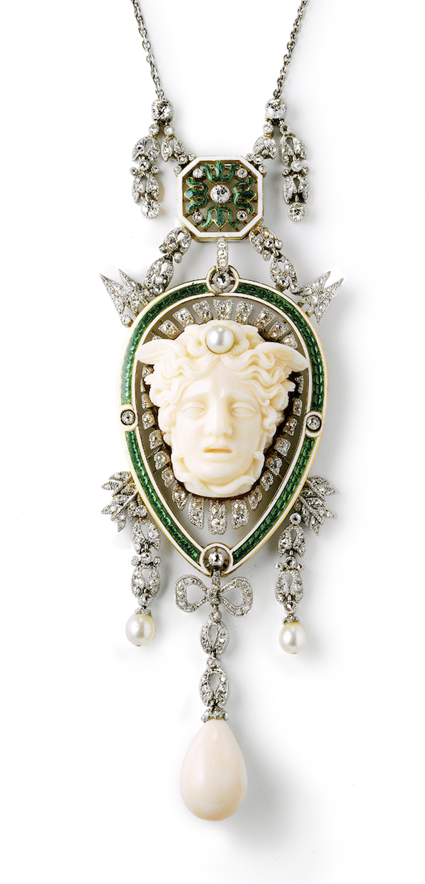 Head of Medusa pendant Cartier (French, founded in 1859) French, 1906 Platinum, gold, enamel, diamond, pearl, and coral * Photo: Nick Welsh, Cartier Collection *© Cartier *Courtesy, Museum of Fine Arts, Boston
