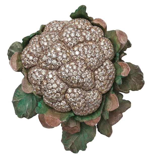 Cauliflower brooch of diamonds, white gold and copper by Hemmerle, first jeweler featured in Jeweler