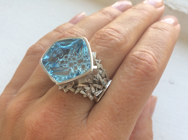 """Iceberg"" ring of 36ct blue topaz in platinum with white and blue diamonds by Cornelia Goldsmith"
