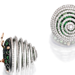 JAR demantoid diamond spiral earclips